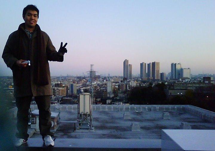 Di atap lantai 8, kampus Hiyoshi
